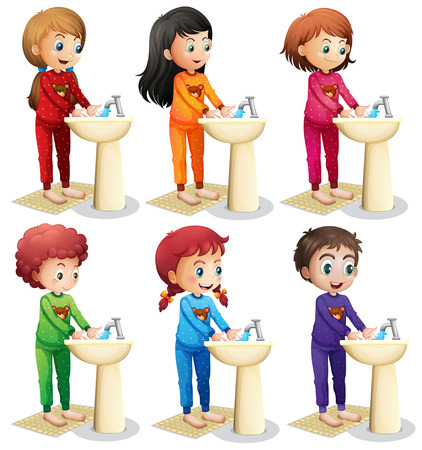 hygiene: Children washing hands before going to bed