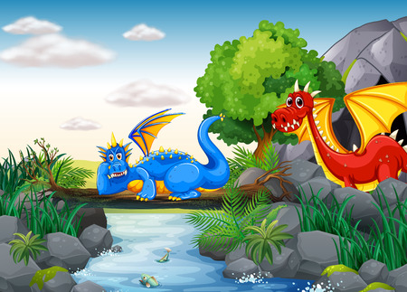 a legend of magic: Two dragons out in the nature