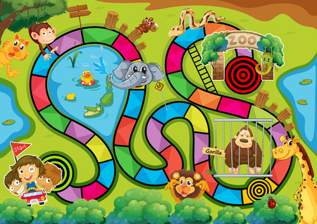 snakes and ladders: Board game with zoo theme Illustration