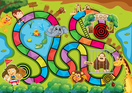 zoologico: Juego de mesa con tema del parque zool�gico Vectores