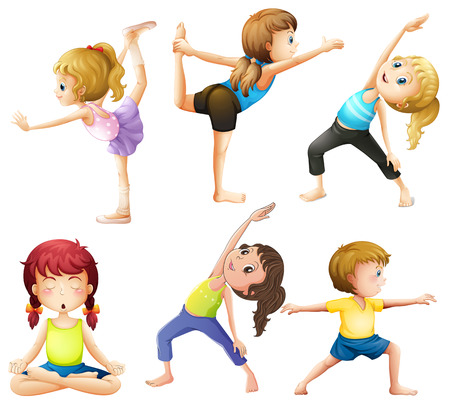 Female practicing poses of yoga Illusztráció