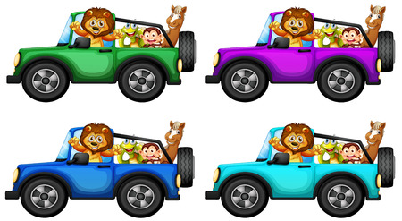 Animals taking ride in a jeep Vector