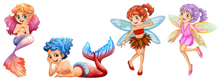 fairy tail: Two cute mermaids and two fairies