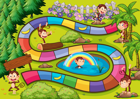 games: Board game with the monkey theme Illustration