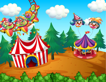 theme parks: Theme park with circus on the field