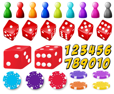 cartoon numbers: Set of number games with dice and coins