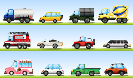fire truck: Different types of vehicles for diefferent purposes Illustration