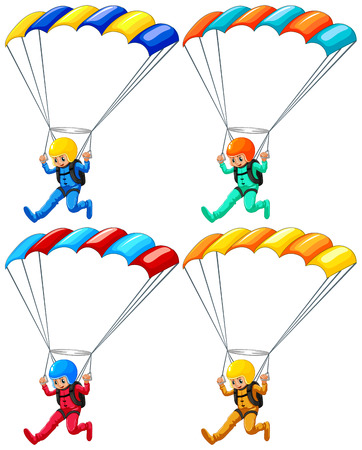 parachutists: Set of four parachutists flying down Illustration