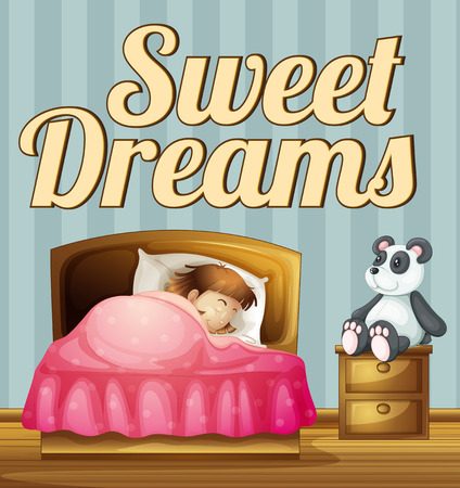 poster bed: Poster giving a message of sweet dreams Illustration