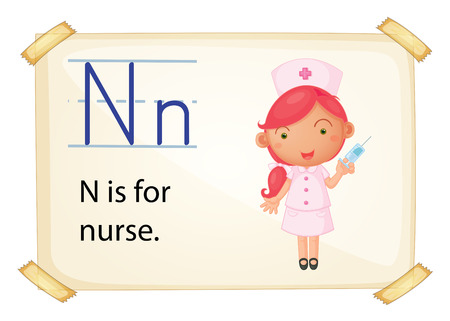 nurse injection: Poster of and alphabet N Illustration