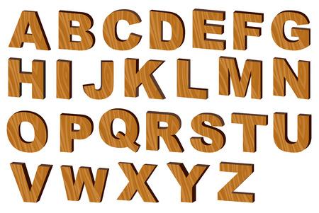 upper case: Upper case alphabets in  wooden