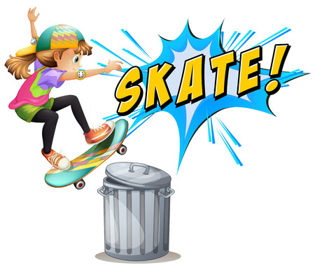 attempts: Girl attempts to skate over a bin Illustration