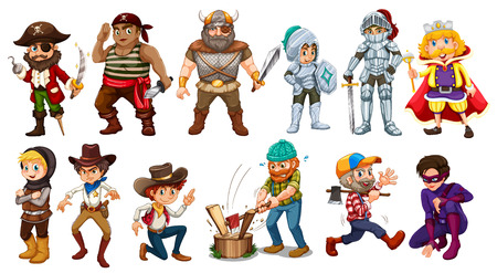 cowboy cartoon: Male characters in different costumes