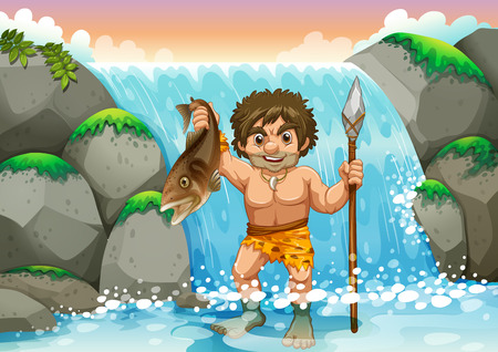stone age: Old-fashion fishing method in the wild