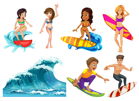 People Surfing At The Beach Vector
