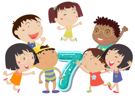 numbers clipart: Illustration of a flashcard number seven