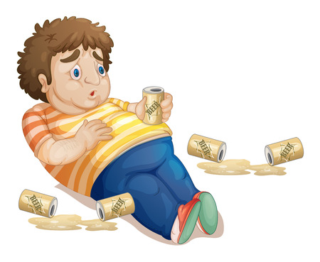 lay down: Illustration of a fat man drinking beer