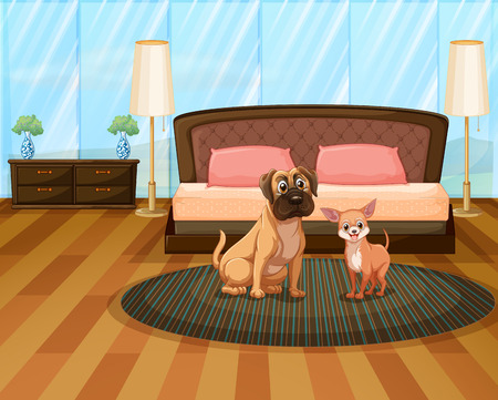 floor mat: Two dogs sitting in a bedroom Illustration