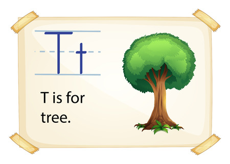 t background: A letter T for tree on a white background Illustration