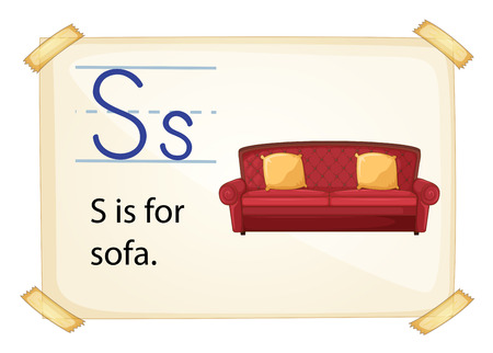 armrests: A letter S for sofa on a white background