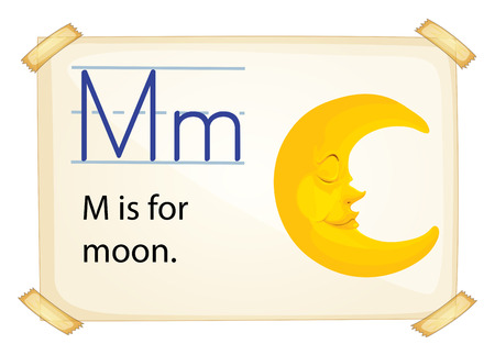white letters: A letter M for moon on a white background