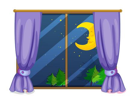 Illustratie van een avond uitzicht uit een raam Stock Illustratie