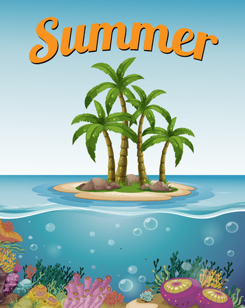 under water grass: Summer postcard with island and text