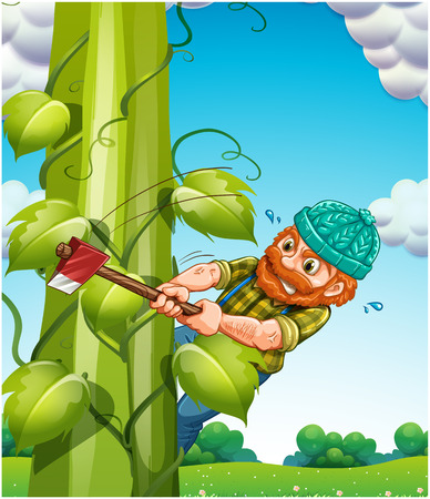 angry sky: Old man trying to cut beanstalk