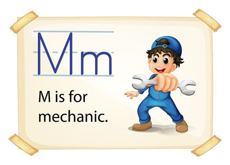 consonant: A letter M for mechanic on a white background