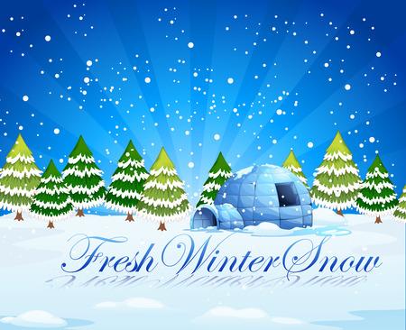 northpole: Een verse winter sneeuw template