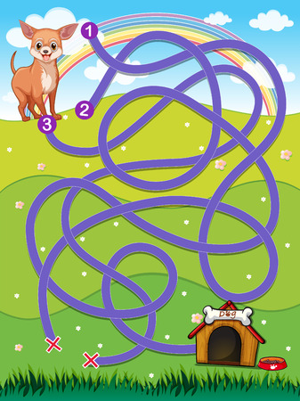 A maze going to the doghouse Vector
