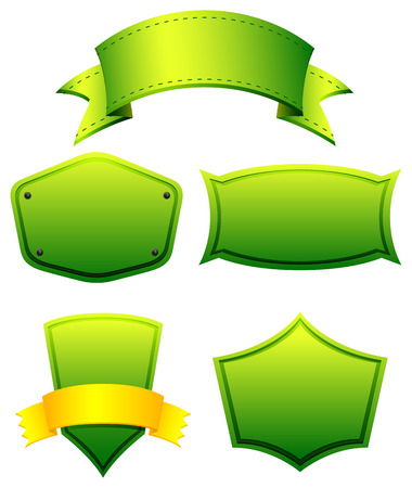 glows: Green color banners in different shapes Illustration