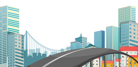 steel bridge: A road at the city on a white background Illustration