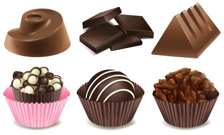 truffe blanche: Illustration de plusieurs types de chocolat Illustration