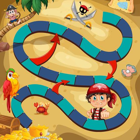 guacamaya caricatura: Ilustración de un juego de mesa con el fondo pirata