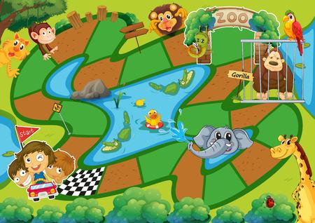 brettspiel: Brettspiel mit Zoothema Illustration