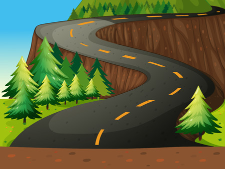 Winding road with forest nature theme Vector