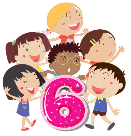 star clipart: Flashcard of children representing number six