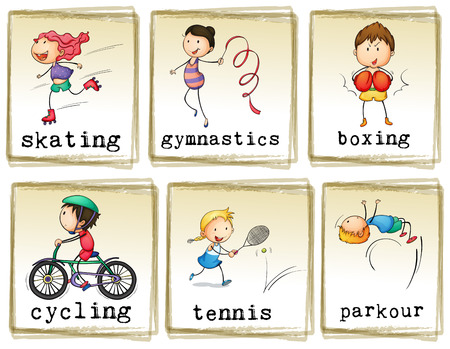 Pictures of kids engaging in different activities on a white background Vector
