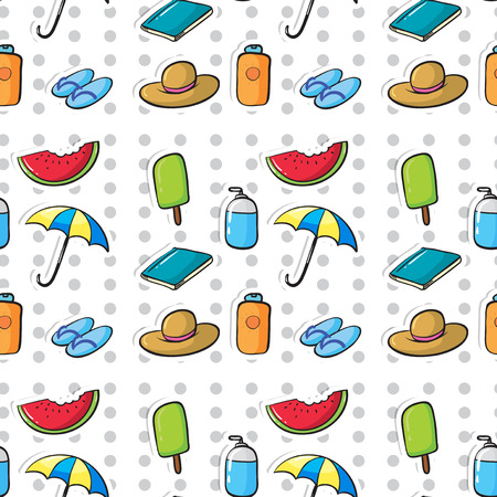 Seamless pattern of summer objects Vector