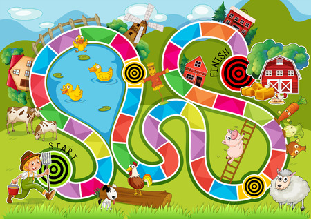 Illustration of a boardgame with farm background