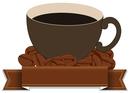 An empty brown template with a cup of coffee on a white background