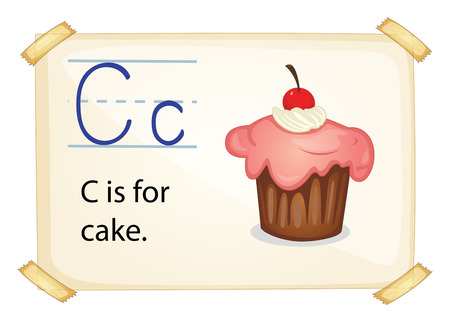 consonant: A letter C for cake on a white background