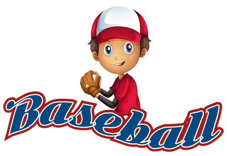 Baseball boy with text on white Vector