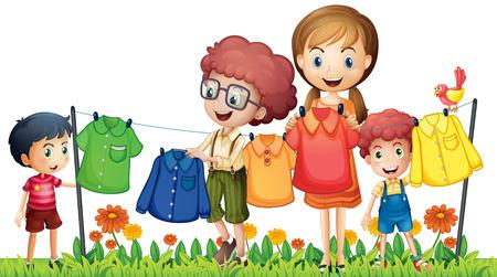 laundry: Illustration of boys and girl doing laundry