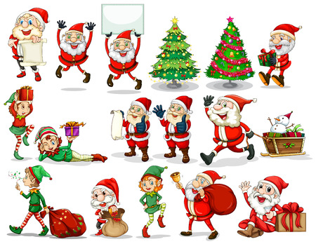 Stickers of Christmas theme Vector