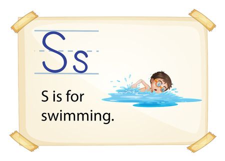 consonant: A letter S for swimming on a white background