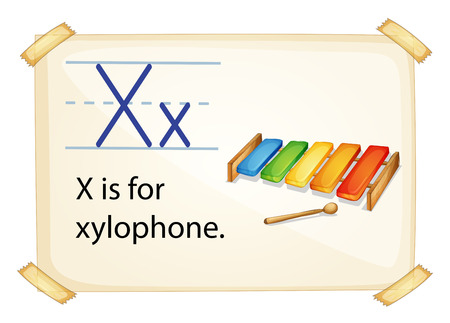 xylophone: A letter X for xylophone on a white background