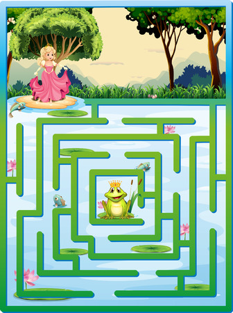 cartoon princess: Illustration of a maze with fairy tale background