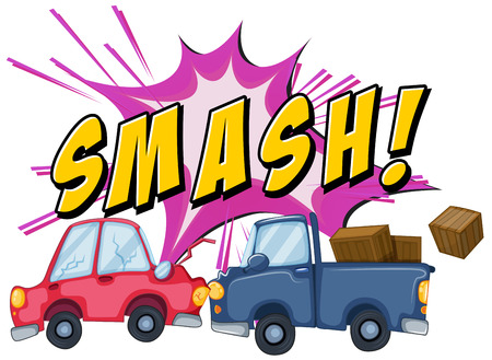 crush: Two cars smash at one another Illustration